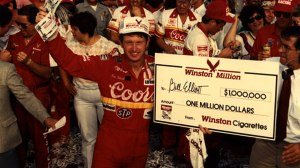 "Million dollar ""Bills"" showered down on Bill Elliott has he officially became ""Million Dollar Bill"" with his historic winning of the Winston Million in 1985."